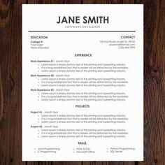 Unique Resume/CV Template   Modern Resume and Cover Letter   Word Resume   College Resume   Elegant Resume   Professional Resume