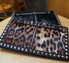 Morpheus Boutique  - Black Leopard Studded Leather Hand Bag Evening Purse