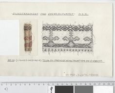 Oseberg Findings from folder 'Oseberg, textiles - silk': Silk Fabric 2, fragment 10. The character of Sofie Krafft: a / ink drawing ('trying construction') and b / watercolor ('character') and cut out. Measure A / B: 24.4 cm, H: 15.9 cm, b / B: 3,9 cm H: 7,7 cm.