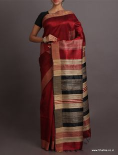 Lisa Striking Color Combinationed Stripe Pallu #BhagalpuriSilkSaree