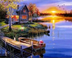 Shop our lighted canvas art! Our Cabin LED Wall Art have LED lights that light up the canvas art! Watch the fire flicker and the stars twinkle! Winter Gif, Beautiful Sunset, Beautiful Places, Beautiful Scenery, Beautiful Wall, Beautiful Pictures, Belle Image Nature, Foto Gif, Autumn Lake