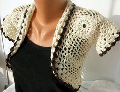 Crochet Ecru Shrug Bolero