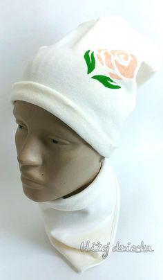 czapka i chustka z różą malowaną ręcznie
