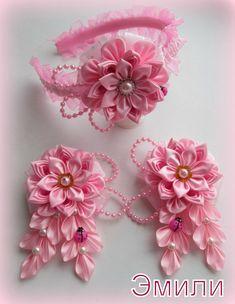 How to Make Ribbon Flower Kanzashi Ribbon Art, Diy Ribbon, Fabric Ribbon, Ribbon Crafts, Flower Crafts, Ribbon Bows, Ribbon Flower, Cloth Flowers, Felt Flowers