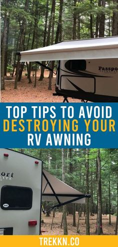 If you've ever destroyed an RV awning, you know just what a pain it can be to deal with while you're traveling, as well as having to replace it. Here are 4 tips to help you not damage your RV awning and avoid a stressful situation. Camping Hacks, Rv Hacks, Go Camping, Outdoor Camping, Camping Ideas, Camping Stool, Camping Jokes, Camping Guide, Rv Awning Replacement