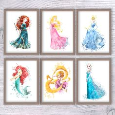 Princess Disney Set Of 6 Room Decor Baby Shower Gift Home Decoration Watercolor Poster Nursery V85 Pinterest