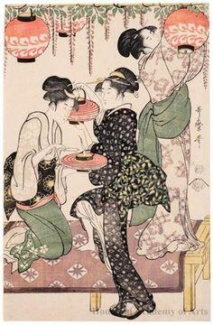Teahouse Maidens under a Wisteria Trellis, ca. 1795 by Kitagawa Utamaro: