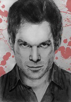 Dexter Morgan by aurormish Dexter Finale, Michael C Hall, The Best Series Ever, Dexter Morgan, Horror Art, Tv Series, Tv Shows, Fan Art, Portrait
