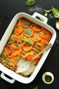 Simple, 9-ingredient sweet potato lasagna with tofu ricotta and a pesto drizzle. Entirely plant-based and so delicious!