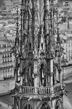 Crown of Thorns © Harold Davis, northern spire of Notre Dame Crown Of Thorns, Church Architecture, Great Photos, Catholic, Castle, France, Black And White, Cathedrals, White Photography