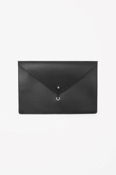 COS Tablet leather clutch in Black