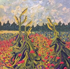 """""""Summer on the Kaibab Plateau""""; Oil on canvas; 36"""" w x 36"""" h x 2"""" d; Impressionism Impasto; Ready to hang. A beautiful and dynamic impasto oil painting with exquisite and inviting colors in the cornstalks, fields and sky. The painted image is continued on the 2"""" deep sides. My paintings are made using only the highest quality luxury paints and applied on the finest museum quality surfaces. All of my artworks are created to bring you pleasure for generations to come."""