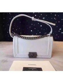 Chanel Medium White Calfskin Boy Flap Bag Fall-Winter 2015/6