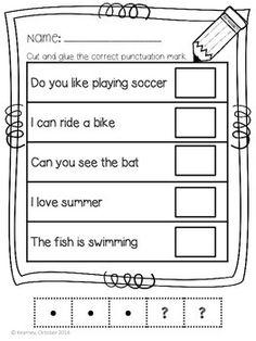 Worksheets For Class 1, Mental Maths Worksheets, Punctuation Worksheets, English Worksheets For Kids, Writing Worksheets, Kindergarten Freebies, Kindergarten Writing, Common Core Ela, Simple Sentences