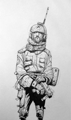 Saturday night is sketch commission night - Spacedude 1 of 5:
