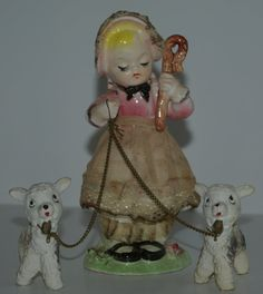 Mary Little Lamb Vintage Ceramic Figurines by MountainViewVintage