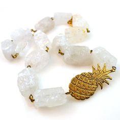 White Crystal Quartz Statement Necklace + Pineapple Charm
