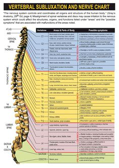 Spinal nerve chart with effects of vertebral subluxations and pinched nerves.  Great Chart.  Helpful for pain can be found at http://PainKickers.com/back-injuries/