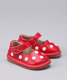 red polka dot squeakers.