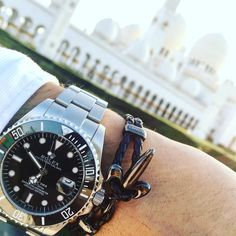 Rocking a Rolex Watch with a matching Black On Black Fleur De Lis Bracelet in Abu Dhabi! Get Yours Today for Him and Her | www.coerlys.com