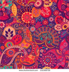 Bright seamless pattern in paisley style - stock vector