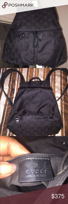 Gucci backpack In Excellent Condition (THE POCKET ZIPPERS ARE BROKEN BUT THEY STILL ZIP UP PERFECTLY FINE) NO STRAINS OR MARKS Gucci Bags Backpacks