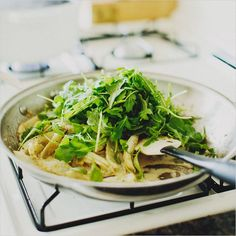 inspired by a recipe from River Cottage Veg. pasta with fennel, arugula & lemon . Vegetarian Pasta Recipes, Whole Food Recipes, Healthy Recipes, Delicious Recipes, Easy Recipes, Fennel Recipes, Arugula Recipes, Lemon Recipes, Spaghetti