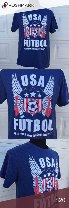 FIFA World Cup Brazil 2014 USA Soccer T-Shirt Sz L You're purchasing a FIFA USA Brazil World Cup 2014 men's futbol soccer T-shirt in size Large. (See pics for measurements) It has short sleeves. Pre-Owned in very good condition. Shirts Tees - Short Sleeve