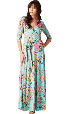 Turquoise Venetian Print Maxi Dress $49.99