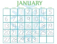 Free Printable Pre-school January Traceable Calendar!  Use at home or in the classroom!