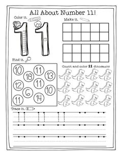 Kindergarten math teen printable practice worksheets, numbers students show different ways to make each number. can be used in pre-k or even first Preschool Number Worksheets, Math Practice Worksheets, Numbers Kindergarten, Numbers Preschool, Tracing Worksheets, Math Numbers, Preschool Math, Kindergarten Worksheets, Math Activities
