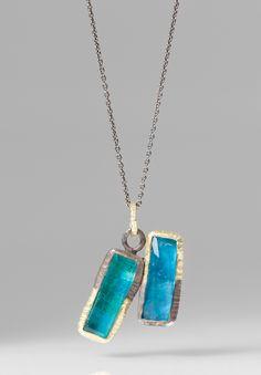 Maria Frantzi 18K Gold, Silver, Chrysocolla Doublet Necklace