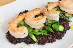 Shrimp w/ Black Rice Risotto http://www.bemindfulbehuman.com/index.php/black-rice-risotto-with-shrimp-and-asparagus/  IMG_4799.black.rice.rissoto.final1