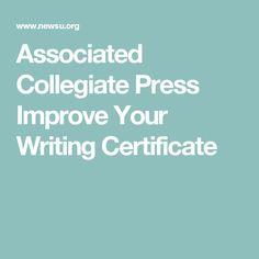 Associated Collegiate Press Improve Your Writing Certificate