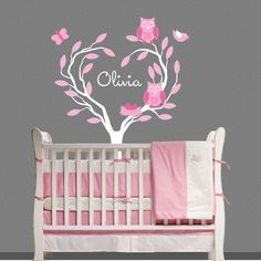 Owl Tree Wall Decal Kids Personalized Nursery Decor baby OHSC