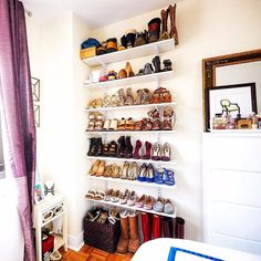 If your apartment is tight on closet space, reconsider wall space and even bookshelves as sources of storage. Put that shoe collection on display!
