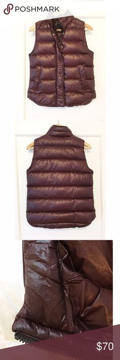 J. Crew Shiny Puffer Down Vest Condition: Good condition. A bit of makeup on the interior collar but not super noticeable. Shown in last pic. Love this vest just a tad too small on me unfortunately. Material: Down-filled nylon Description (per J. Crew site):  Over sweaters or under coats, our lightweight down vest lets you layer up without the bulk. Standing collar. Hidden zip with snap closure. Pockets. 🚫No Trades🚫 J. Crew Jackets & Coats Vests