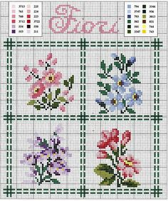 EMBROIDERY – CROSS-STITCH / BORDERIE / BORDUURWERK – FLOWER / FLEUR / BLOEM - miniature needlework chart