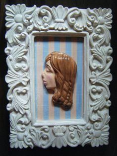 Polymer clay young woman 3d framed art by hellodarlingjewelry, $15.00