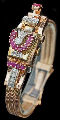 Rare 1940s Retro 14K Rose Gold Ruby & Diamond Lady's Flip-Top Bracelet Watch #LesFilsDePaul
