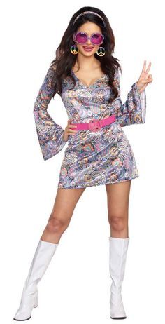 74af326f357a FOR MUM! (JUST WEAR TIGHTS OR LONGER SKIRT UNDER)........ Adult Disco Daisy  Go Go Costume - 60 s and 70 s Costum…