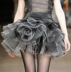 """Swirling Sheer Silver Ruffles #cocktail #dress"""
