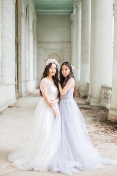 Grey wedding dress white wedding dress grey tulle gown open
