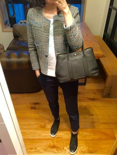 Chanel tweed jacket, H&M white tee, UNIQLO chinos, 3.1 Phillip Lim Morgan high top sneakers, Hermes Garden Party TPM.