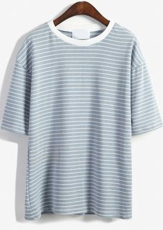 Round Neck Striped Loose Sky Blue T-Shirt -SheIn(abaday)