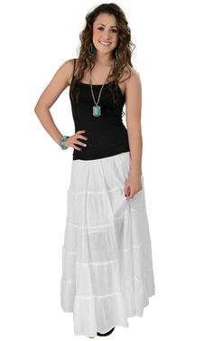 Vintage Havana® Women's White Linen with Crochet Waistband Maxi Skirt