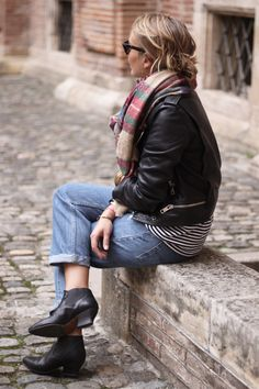 Classic items: Tartan Scarf, Striped top, Boyfriend jeans, leather jacket and Acne Alma booties