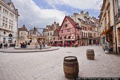 Dijon makes the perfect escape. The city is quaint and historic, with medieval and renaissance architecture to admire France Destinations, Rue Pietonne, D Day Beach, Europe Holidays, Renaissance Architecture, Ville France, Old Churches, Le Palais, France