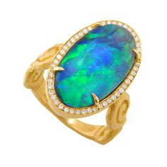 One-Of-A-Kind Pamela Froman Lightning Ridge Opal Ring  18K Gold, 7.94CTW Lightning Ridge Opal, 0.24CTW Diamond Ring by Pamela Froman Jewelry.