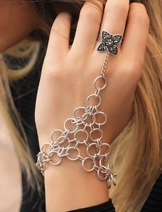 Flower Ring Coupled With  The Armor-Shaped Silver Slave Bracelet./ Women's Jewellery by EphesusJewelleries on Etsy